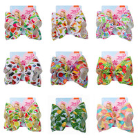 Wholesale white cotton bandanas for sale - Group buy INS jojo siwa Colors Baby Girls Bow Mermaid clover Flamingo print Hair Accessories Barrettes Kids inch Headdress hair bows with Clips
