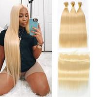 sarışın saç telleri toptan satış-613 Sarışın Demetleri Ile Frontal Brezilyalı Bakire Saç Demetleri Ile Kapakları Ucuz İnsan Saç Dokuma Paketler 13X4 Kapatma Remy Beyo ile