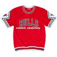 camisa roja del baloncesto al por mayor-Barato personalizado Mitchell Ness 1987-88 Road Shooting Shirt - Red camiseta de verano cosida para hombre Retro camiseta de baloncesto