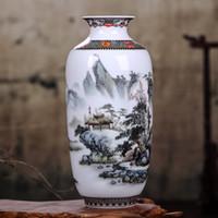 ingrosso vaso antico-Vaso in ceramica Jingdezhen di alta qualità antico vaso cinese fiore inserito soggiorno decorazione della casa artigianale ornamenti regalo
