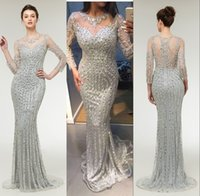 Wholesale sliver prom dresses resale online - 2019 Sparkly Sliver Sequins Crystal Prom Party Dresses Illusion Jewel Neck Long Sleeves Beaded Zipper Back Sweep Train Mermaid Evening Gowns