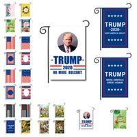 bandeiras bandeiras ao ar livre venda por atacado-Bandeiras de bandeira dupla face Trump Garden Flags 30 x 45 cm outdoor decorating Chunya Têxtil bandeiras de jardim American flag flagTrump flagsT2I5208