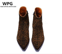 botas estilo euro venda por atacado-novo estilo euro vintage Estilo Retro Leopard sapatos de couro de grãos botas mens sapatos
