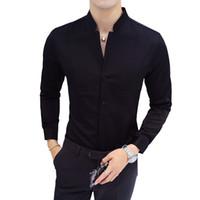 asiatische größe langarmshirts großhandel-Slim Design Herren Hemd Langarm Schwarz Rot Weiß Hemd Männer Asiatische Größe S - 5XL Stehkragen Herrenhemden
