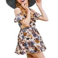 ingrosso disegno di vestito da sera di stile di sera-Abito floreale Summer Beach manica corta scollo a V abito da sera Bohemian Beach Dress 2019 progettato stile estivo
