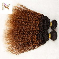unverarbeitete brasilianische lockige haare 6a großhandel-T1B / 30 Two Colour Virgin Brasilianisches Ombre Curly Hair Weave 10-30