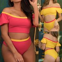 sarı pembe bikini toptan satış-Kadın Yaz Patchwork Pembe Sarı Kollu Mayo Yüksek Bel Beachwear Şınav Yastıklı Mayo Artı Boyutu Iki Parçalı Bikini Set