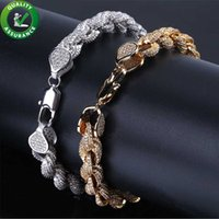 bracelete de corda pandora venda por atacado-Mens pulseiras de ouro Hip Hop jóias diamante pulseira de Tênis para o amor de luxo Designer de pulseiras encantos de estilo Pandora gelado fora Cadeia de corda de Bling