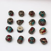 ingrosso perline di ottone per la fabbricazione di gioielli-16 stili in ottone tibetano tallone retro nepal allentato perline per monili che fanno braccialetti fai da te fascini della boemia accessori dei monili all'ingrosso a buon mercato