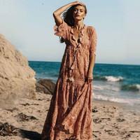 mini pembe plaj elbisesi toptan satış-Yaz maxi dress pembe dantel kadınlar zarif yarım kollu plaj elbiseleri 2019 kadın yüksek bel lace up gevşek robe femme parti için