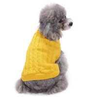 ingrosso sciarpa di nozze del cane-Costume da gatto Abbigliamento caldo Pet Maglione solido Cucciolo in maglia Abbigliamento casual Maglione Cappotto Cane invernale