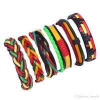 rote gelbe grüne armbänder großhandel-6 TEILE / SATZ Jamaika Stil Lederarmbänder Twist Braid Bunte Modeschmuck Glänzende Armreif Rot Gelb Grün Kombination Armband DC76