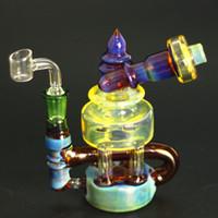 artesanato de tubos de água venda por atacado-Bongos de vidro de grande design, plataformas dab, narguilé com cachimbo de água azul e amarelo para embarcações corporais