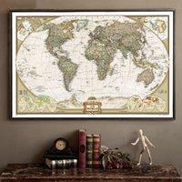 papel de carta grande venda por atacado-Grande Vintage World Map escritório detalhada Gráfico Poster de parede antigo Papel retro Papel Matte Kraft 28 * 18inch Mapa Do Mundo