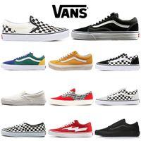 homens moda sapatos brancos venda por atacado-Vans Old Skool Sapatos de grife Old Skool Medo de Deus Homens Mulheres Sapatilhas de Lona Triplo Preto Branco Vermelho Azul Moda Skate Sapatos Casuais 36-44