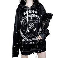 Wholesale gothic cat for sale - Group buy Style Hoodies Long Sleeve Cloth With Mystical Element And Cat Print Fashion Donna Hooded Tops Designer Women Gothic
