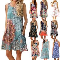 çiçek borusu üstleri toptan satış-Çiçek Tüp Üst Bohemian Elbise Yaz Bayanlar Baskı Plaj Bohemian kolsuz Plaj Elbise Vintage Annelik Cep Elbise 6 adet LJJA2325