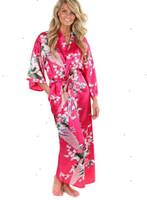 ingrosso abiti di seta floreali-Donna Sleepwear Femme Intimo Silk 2015 Accappatoio kimono delle donne per le donne floreali damigelle lungo abito sposa abito di seta Accappatoio