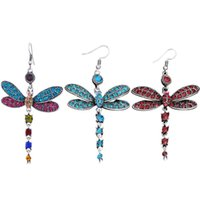 Wholesale insect hooks resale online - Vintage Creative Ladies Rhinestone Dragonfly Dangle Ear Hook Casual Elegant Women Insect Drop Earrings Alloy Jewelry Gift