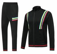 siyah pantolon takımları toptan satış-Erkek Futbol Ceket Mavi Futbol Ceket Uzun Pantolon Suits Yetişkin Boş Futbol Eşofman Siyah Açık Spor Mont Pantolon