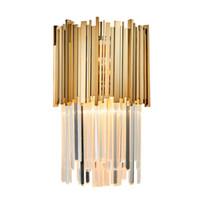 lampes de chambre en laiton antique achat en gros de-Moderne LED Applique murale Lumière AC110-240V Creative Design Or Creative Décoration Luminaire de chevet lampe murale