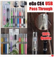 elektronische zigaretten-blister-kits ego großhandel-100% Qualität eGo-T ce4 Vape Pen Blister Starter Kits Elektronische Zigarette 650 900 1100 mAh UGO Micro USB Passthrough 510 Thread Batterie ecig