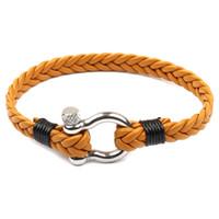silber infinity anker eule armband großhandel-Handgestrickte Armband Armband Männer und Frauen Lederarmband Wild Multi-Layer gewebt Multi-Color-Edelstahl Schnalle Flut Herrenschmuck