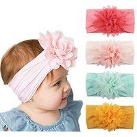 bebek yumuşak baş bantları toptan satış-Kızlar Çocuk Bebek Çocuk Noel Hediyesi M838F için Bebek Baş Wrap şifon Çiçek Yenidoğan Bebek Yumuşak Naylon Bantlar Saç Aksesuarları