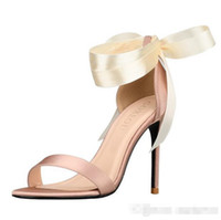 Wholesale women red open toe heels resale online - 2019 Designer Wedding Sandals Shoes cm High Heels Bridal Shoes Straps Cheap In Stock Women Girl Prom Party Evening Dress Pumps