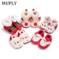 Wholesale toddler sneakers sale resale online - Hot sale Christmas style First walkers Keep warm In winter Infant boys girls shoes Flock Toddlers sneakers Soft Baby boots