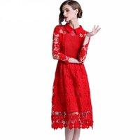 5af24204909b Navidad de alta calidad otoño e invierno runway vestido de encaje rojo  vestido de fiesta de manga larga sexy ahueca hacia fuera los vestidos de la  vendimia ...