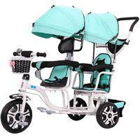 dreirad spaziergänger großhandel-Doppelsitz Dreirad Kinderwagen Baby Fahrrad Twin Kinderwagen Drei Rad Kinderwagen Kinder Trolley1-6years Old