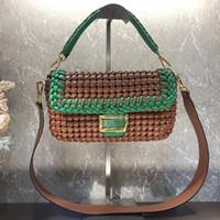 Wholesale straw women handbag for sale - Group buy Women Cross Body Bags Purses Handbags Shoulder Bag Fashion Crochet Color Matching Woven Handbag Detachable Shoulder Strap
