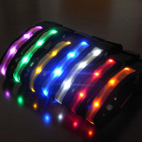 Wholesale led collar cat small dog resale online - Nylon Pet Dog Collar LED Light Night Safety Anti lost Flashing Glow Cat Dog Collars for Small dogs Pet Supplies colors XS XL