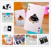 mini kart pokeri toptan satış-Mini cüzdan kredi kartı şişe açacağı paslanmaz çelik poker kart şişe açacağı maça Bir kartvizit bira açacakları