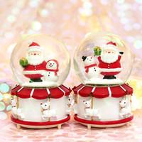 Wholesale crystal ball 12 lights resale online - DHL styles Santa Claus Crystal Ball Christmas Lights water ball rotating snow music box of Christmas Gifts Kids Toys