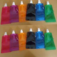 bouteilles d'eau pliantes achat en gros de-Sac de bouteille d'eau pliable Portable Pure Color Outdoor Sport Fournitures Camping Alpinisme Randonnée Mouvement potable Bouilloire MMA1807-1