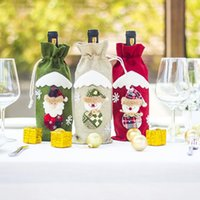 Wholesale linen blinds resale online - Christmas Wine Bottle Covers Fashion Champagne Wine Blind Packaging Gift Bags Xmas Party Dinner Table Decorate cm LXL465