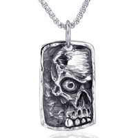 Wholesale pendent jewelry resale online - Vintage Punk Skull Dog Tag Pendent Necklace for Men s Gothic Skull Jewelry