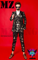 одежда оптовых-Chinese style black gold bright silk satin robes suit jacket host dress nightclub performance clothing bar male singer dj stage