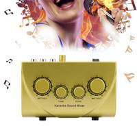 sound machine оптовых-Mini Sound Mixer Karaoke Machine Portable Digital Audio Sound Console Audio System Microphone Compact Professional 2 Plugs