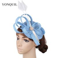 Wholesale ladies fascinators resale online - Light blue party hats Sinamay wedding fascinators elegant ladies race headpiece liene hair accessories derby fedora hats SYF466