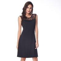 ingrosso pizzo nero più il formato-Fashion-Plus Size Sexy Back Dots Splicing Lace Dress Donna Black Party Office al ginocchio senza maniche Vestidos Elegante