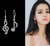 müzik notaları küpeler toptan satış-10 Pairs Asimetrik Kişilik Trendy Müzik Notlar Kulak Kancası Kristal Gümüş Renk Rhinestone Küpe Kadın Aksesuar Lady Dangle Küpe