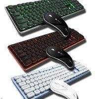 ratón auto teclado al por mayor-2.4G reposo automático retroiluminado / falso teclado retroiluminado Bluetooth arqueado Delgado Mouse Set Quiet pulsaciones de teclas del teclado de oficina ratones Kit