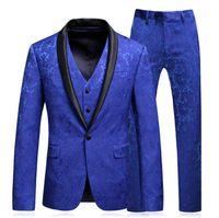 herren anzug gold krawatte großhandel-Erwünschte Zeit Mens Royal Blue Floral Anzüge mit Hosen mit Schalkragen Prom Bräutigam Brautkleid Anzüge für Männer Jacke + Pants + vest + tie