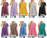 mini tops de rendas soltas venda por atacado-Vestidos Plus Size Vestido de Renda Solto Camisa Vestido de Impressão Túnica Tops Mulheres Moda Blusa Em Torno Do Pescoço Vestido Blusas Vestidos de Roupas Femininas H61