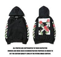 erkekler için beyaz hoodie toptan satış-KAPALI İşlemeli Gül Çiçek Zip Kapşonlu Triko Çift Erkekler ve Kadınlar BEYAZ Coat Hoodie Ceket M-2XL