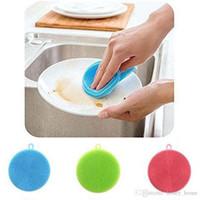 esponjas de aço inoxidável venda por atacado-Prático Silicone Lavar Esponja de Lavar Roupa de Alta Qualidade Suave Limpeza Antibacteriana Ferramentas de Cozinha Escova