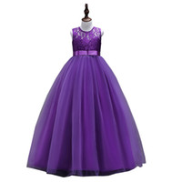 Hot selling 2019 New Arrival Princess Flower Girl Dresses for Wedding Lace Tulle Long Dress Children Designer Clothes Girls Pageant Dresses